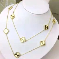 FREE SHIPPING-Van Cleef & Arpels Classic Clover Logo Necklace