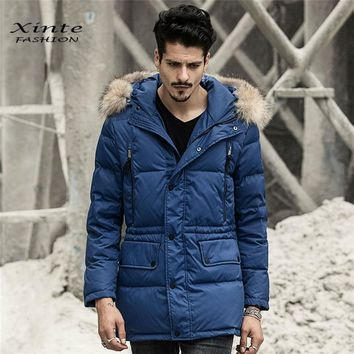 Men's Down Coat Hood 100% Real Raccoon Fur Trim Collar Winter Jacket Outwear Coats Clothing Warm New