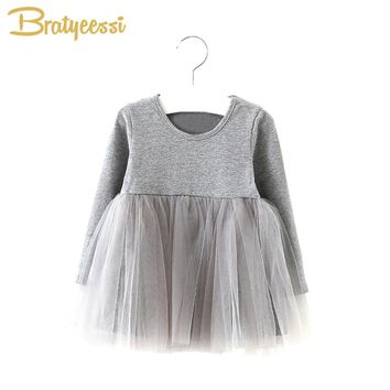 New Autumn Spring Baby Girl Dress Cotton Long Sleeve Vestido Infantil Tulle Tutu Girls Dresses Princess Infant Clothing