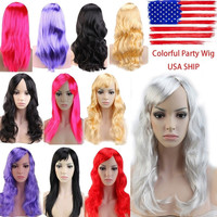 Cheap Cospaly Party Synthetic Wig Black Brown Pink Red Blonde Gray Purple Women Long Curly Costume Fancy Dress Halloween