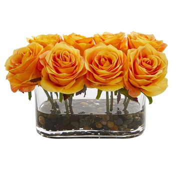 Silk Flowers -5.5 Inch Blooming Orange Yellow Roses In Glass Vase Artificial