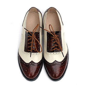 Fashion British Style Oxford Brogue Shoes For Women Vintage Carved Bullock Genuine Leather Flat Shoes Women Oxfords