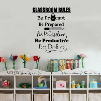 Wall Classroom Rules Art Stickers