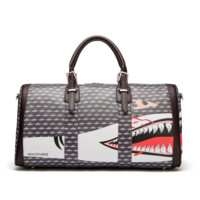 AAPE Women Men Fashion Print Shark Leather Luggage Travel Bags Tote Handbag
