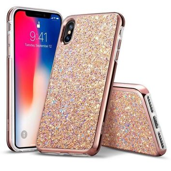 Iphone X Case Esr Glitter Bling Hard Cover With Dual Layer Structure [hard Pc Back Outer + Soft Tpu Inner] For Girls Women [support Wireless Charging] For Iphone X /iphone 10 (2017)(metallic Peach)