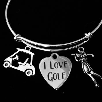 I Love Golf Jewelry Golfer Expandable Charm Bracelet Adjustable Silver Wire Bangle Golf Cart Woman Golfer One Size Fits All Gift