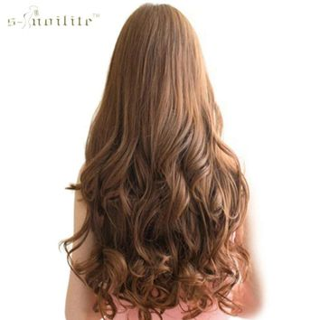 "SNOILITE 17"" 24"" Lady Long Curly 18 Clip in Hair Extension Real Synthetic Natural Hair Hairpieces 8pcs/lot Blonde Black"