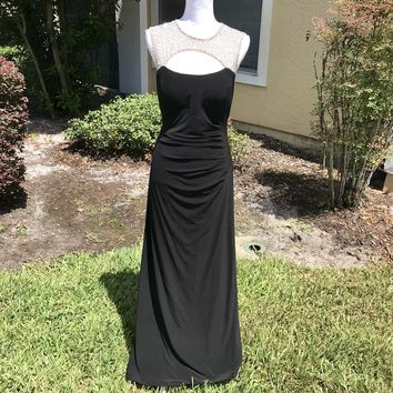 XSCAPE Women's Black Beaded Stretch Formal Gown, Size 14