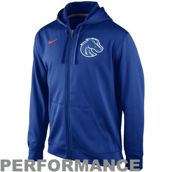 Nike Boise State Broncos College KO Full Zip Logo Performance Hoodie – Royal Blue