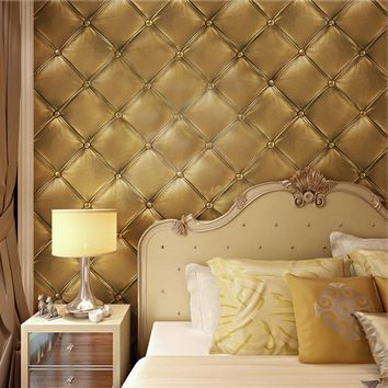 European Style 3D Stereoscopic Soft Pack Faux Leather Textured Wallpaper Modern Luxury Bedroom Wall Paper Roll For Living Room