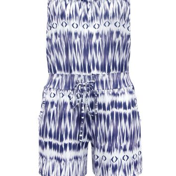 Streetstyle  Casual Strapless Drawstring Pocket Printed Romper