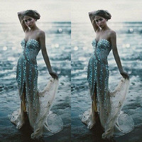 New Fashion Women Sexy Dress Long Prom Ball Gold Sequins Cocktail Party Dress