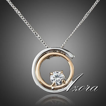 AZORA Classic Platinum Plated White Stellux Austrian Crystal Pendant Necklace TN0075