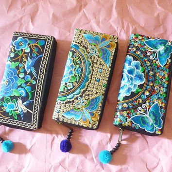 Flower wallet peony Embroidered kmong purse zipper embroidery wallet with zipper around