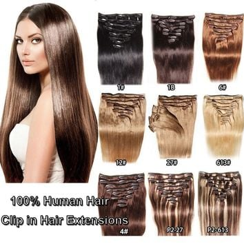8 Pieces Clip in Human Hair Extensions Thick Full Head 100% Remy Real Hair