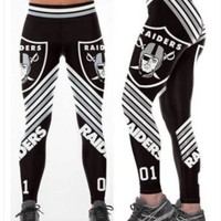 Oakland Raiders Medium Womens Leggings #01 Football Running Yoga Athletic