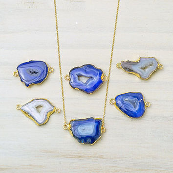 Druzy Agate Slice Necklace Gold Dipped Statement Necklace Blue Agate Necklace White  raw stone Jewelry Boho Necklace