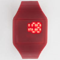 Rubber Square Face Led Watch Red One Size For Men 25394930001