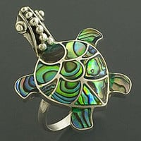 Sterling Silver Rainbow Abalone Turtle Ring (Indonesia) | Overstock.com