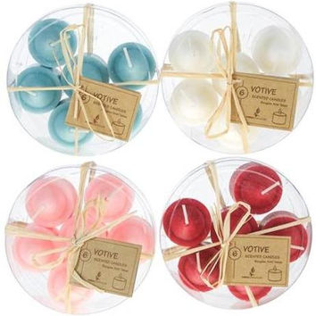 6 piece Scented Votive Candle in Round Clear Box - Assorted Case Pack 48