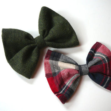 Red Plaid Hair Bow - Red Flannel Hair Bow - Large Hair Bow - Preppy Hair Bow