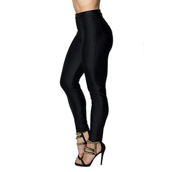 Women's High Waist Shiny Satin Neon Disco Pants