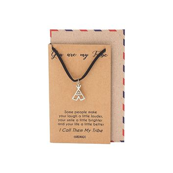 Paisley Teepee Pendant Choker Necklace, Jewelry Gifts, Best Friend Gifts and Greeting Card