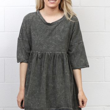 Mineral Washed Smocked Tunic {Grey Mix}