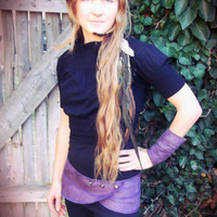 Maia: Pleiades Pocket Belt. Faux suede utility belt skirt with silver antique buttons. Purple, Black, Brown. Custom sizing.