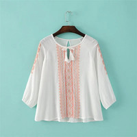 White Ethnic Embroidery Panel Tie-Neck Blouse