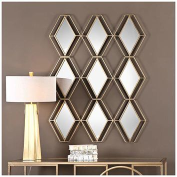Uttermost Soren Antiqued Gold Wall Mirror - 38 1/2 x47 1/4 - #EU14G45 - Euro Style Lighting