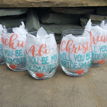 Will You Be My Bridesmaid Wine Glasses, Asking Bridesmaid, Bridesmaid Proposal, Bridesmaid Wine Glasses