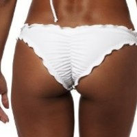 COQUETA Brazilian Waved Bikini Bottom Swimsuit Scrunch Swimwear Samba WHITE