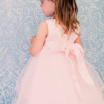 White or Ivory Satin & Tulle Occasion Dress with Lace Waist & Tiered Skirt (Baby Girls)