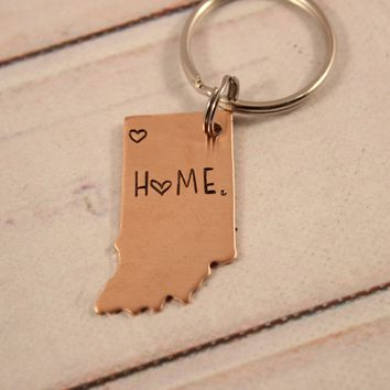 """home"" Indiana Keychain with NW Indiana heart - READY TO SHIP"