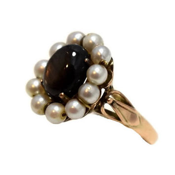 Art Nouveau 14k Black Star Sapphire Pearl Ring Rose Gold Antique