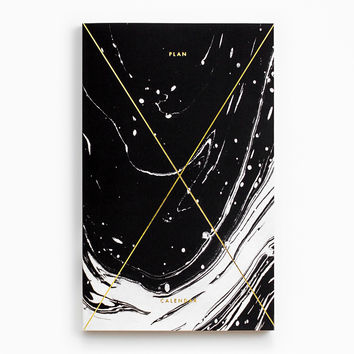 Gold Foil Any-Year Daily Planner - Marble Black