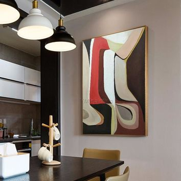Original Geometric Nordic mordern abstract acrylic Painting on canvas red extra large Wall Art Pictures For living room cuadros abstractos