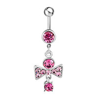 Sale Sexy Bow Bowknot 316L Surgical Steel Pink Crystal Dangle Belly Button Ring