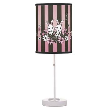 Cute Bunnies Kids Bedroom Lamps: Birthday or Easter Gift Idea for Girls: Pink x Black