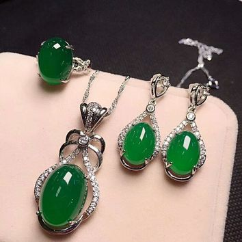 Yu Xin Yuan Fine Jewelry 925 Silver Inlaid With Natural Green Chalcedony Oval Pendant Ring Rop Earrings Three Pieces.