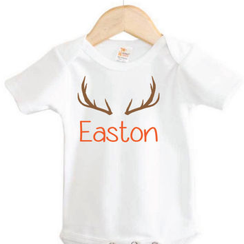 Custom Baby Onesuit // Baby's Name Onesuit with antlers // country Onesuit // hunting