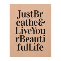 Just Breathe Inspirational Typography Quotes Pink Wood Wall Art