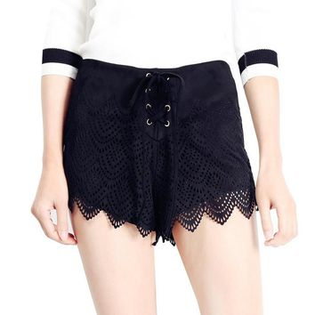 HOT! Fashion Sexy Show thin hollow Beach shorts black