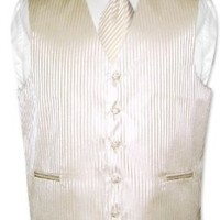Men`s Dress Vest & NeckTie Egg Yolk Cream Striped Vertical Stripes Design Set for Suit or Tuxedo...