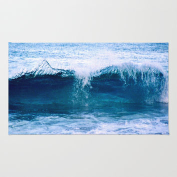 Blue Ocean Wave Crashing to the Beach Area & Throw Rug by Vermont Inklings | Society6