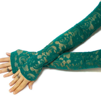 Isadona // Free Shipping, Extra Long Green Gloves, Belly Dance Costume, Lace Party Gloves, Lace Fingerless Gloves, Fantasy Lolita gloves