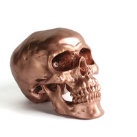 Copper Human Replica Skull Head - Gothic Skull - Lifelike Human Skull - Hipster - Halloween Decor - Quirky Office Decor - Anatomy