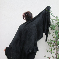 Angora Wool Fringed Scarf , Black  long wrap scarf, Wooly Fabric Timeless, scarves, Winter outfit, Unisex, For Men, For Her