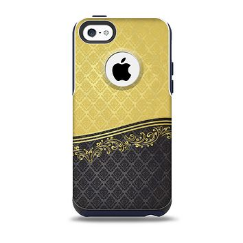 The Gold and Black Luxury Pattern Skin for the iPhone 5c OtterBox Commuter Case